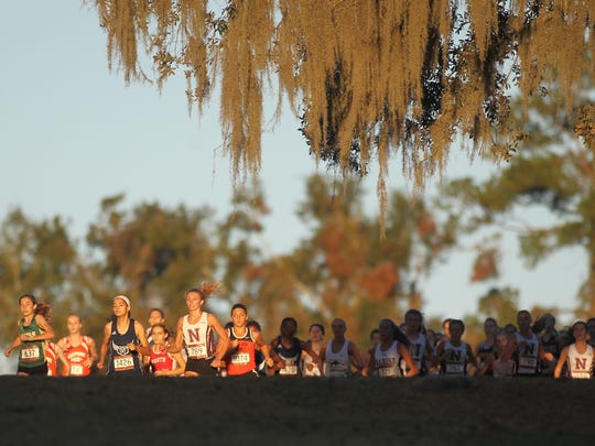 Runners take off and crest a hill at Apalachee Regional Park during the start of the girls elite race during October's FSU Invitational.