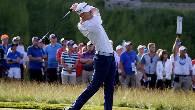 Mequon's Jordan Niebrugge is the first to tee off on hole No. 1 during the opening round of the 2017 U.S. Open at Erin Hills Thursday morning.