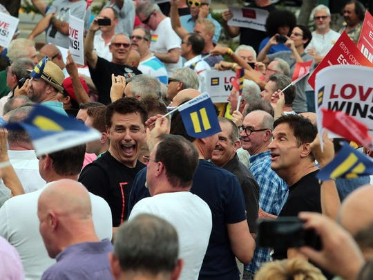 Actor John Barrowman is seen in the crowd celebrating the US Supreme Court decision to make same sex marriage legal at Francis Stevens Park in Palm Springs on June 26.