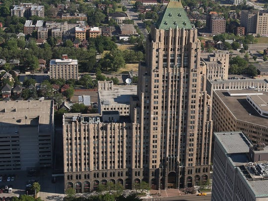 Aerial View of the Fisher building in Detroit in 2012.
