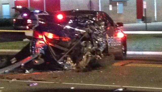 One of two Pine Beach police cars involved in the crash..
