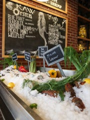 Seafood on display at the front of the restaurant at