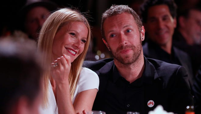 Gwyneth Paltrow, left, and Chris Martin made a rare public appearance together in January.