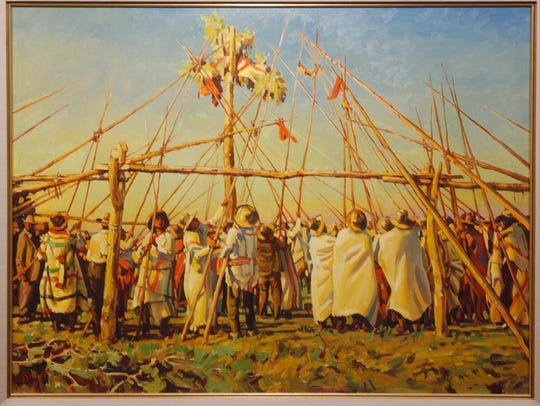 """Gary Schildt's painting """"Raising the Center Pole"""" is"""