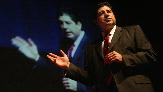 2006: Then-El Paso Independent School District Superintendent Lorenzo García addresses thousands of teachers during the first convocation on Aug. 10, 2006.
