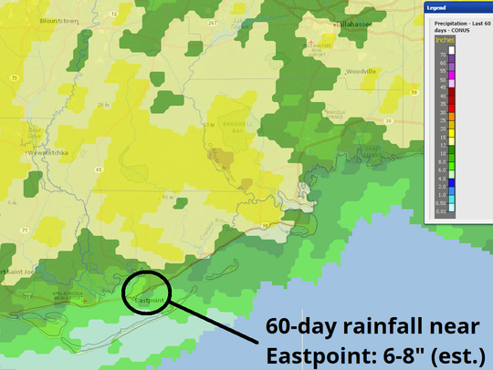 Sixty-day rainfall in and around Eastpoint.