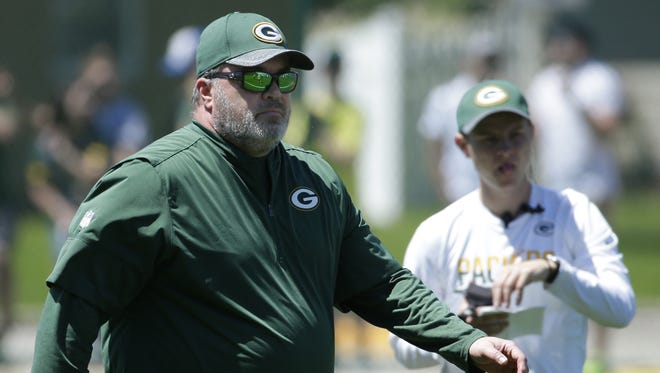 Green Bay Packers coach Mike Mccarthy is shown during the team's OTA practice Tuesday, June 6, 2017, in Green Bay.