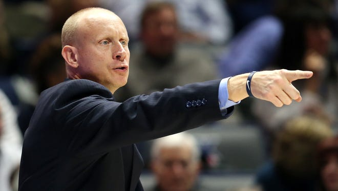 Xavier Musketeers head coach Chris Mack instructs the team in the second half during the college basketball game between the Colorado Buffaloes and the Xavier Musketeers, Saturday, Dec. 9, 2017, at Cintas Center in Cincinnati. Xavier won 96-69.