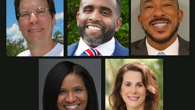 Five candidates for the Democratic nomination for state Senate, District 9, for the Aug. 18 primary election are, clockwise from top left: Rick Ashby, Alexis Carter, Alexander Duncan, Guerdy Remy and Patricia Sigman.