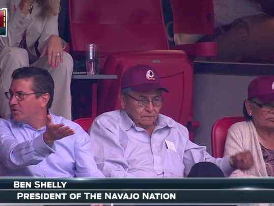 Navajo Nation President Ben Shelly Sits In Box With Dan Snyder