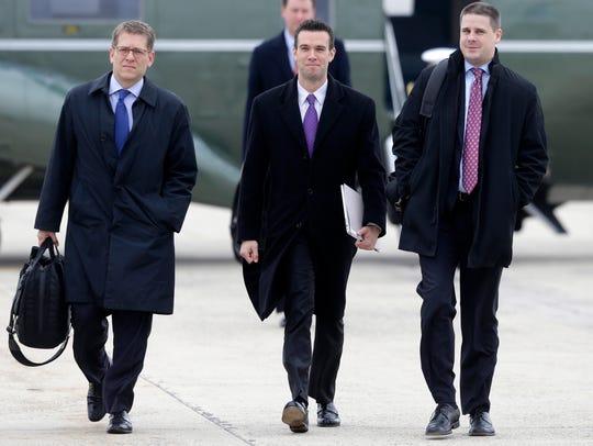 From left; White House press secretary Jay Carney,