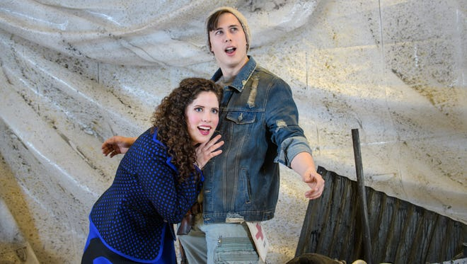 """Rachael Zientek and Lucas Pastrana play leading roles in Skylight Music Theatre's production of """"Urinetown."""""""