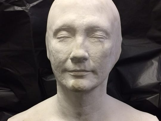 FLORIDA TODAY's Christina LaFortune was completely covered in alginate and plaster to create this life-size bust.