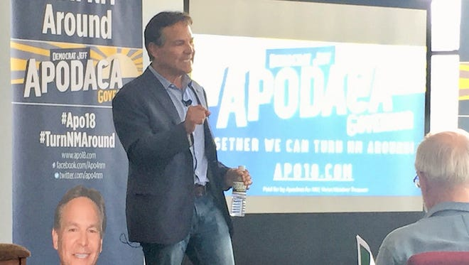 Democrat Jeff Apodaca stopped in Ruidoso to pitch his candidacy for governor.