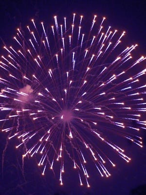 Fireworks light the sky on the 4th of July in Gallatin,TN.