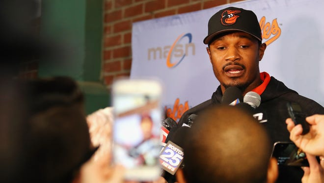 Jones speaks with the media at Fenway Park on Tuesday before the game.