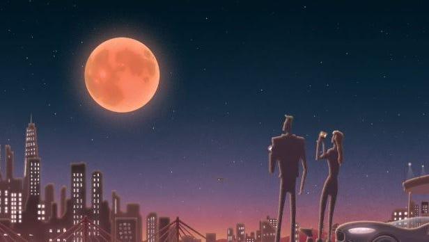 An animation of a supermoon.