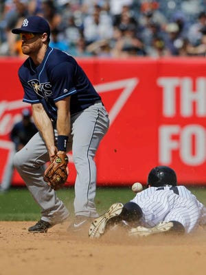 Brett Gardner (11) steals second base as Tampa Bay Rays second baseman Logan Forsythe loses control of the ball during the sixth inning on Saturday, April 23, 2016.