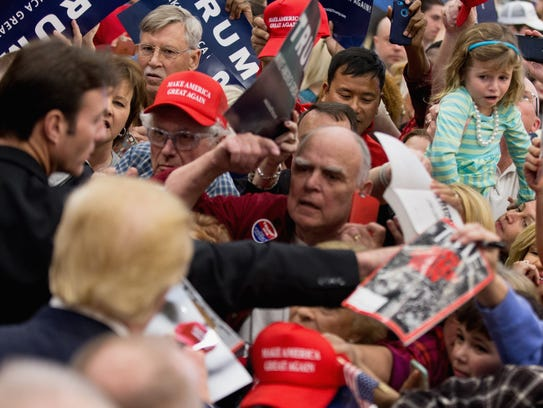 Donald Trump greets supporters in North Augusta, S.C.,