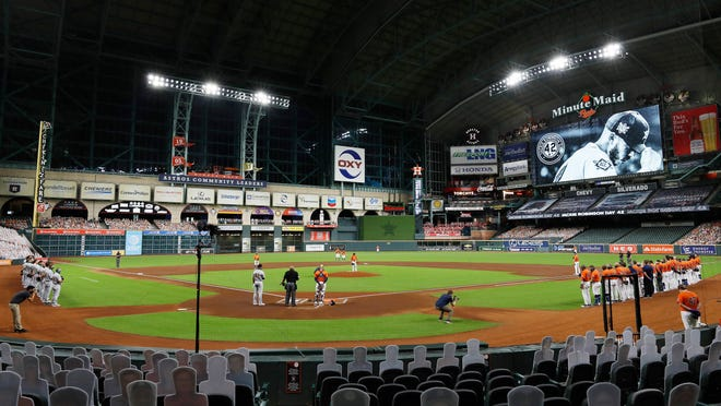 The Athletics and Astros did not play Sunday because a member of the Athletics organization tested positive for COVID-19.
