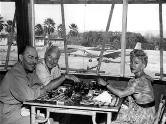 The Boyd's dining at the Desert Air Hotel.