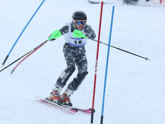 Grant McElheny competes in the Section 1 skiing championships at Hunter Mountain in Hunter, N.Y.  Feb. 15, 2017.