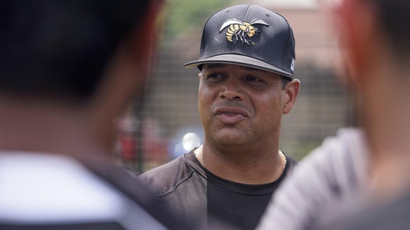 Alabama State University head baseball coach Mervyl Melendez works with his team, as they wait to hear where they will play in the NCAA Tournament regionals, at the ASU campus in Montgomery, Ala., on Wednesday May 25, 2016.