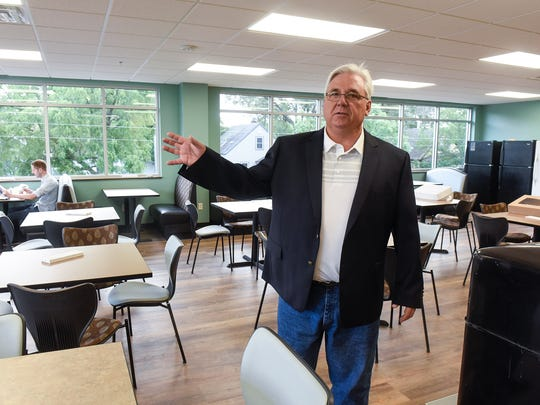 Microbiologics CEO Brad Goskowicz talks about features of the new employee lunch room Monday, Aug. 14, at the newly-expanded facility in St. Cloud.