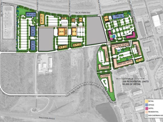 Minneapolis-based Sherman Associates is developing nearly 50 acres south of Martin Luther King Jr. Parkway. The development, called Gray's Landing, will include apartments, offices, hotels and other commercial buildings.