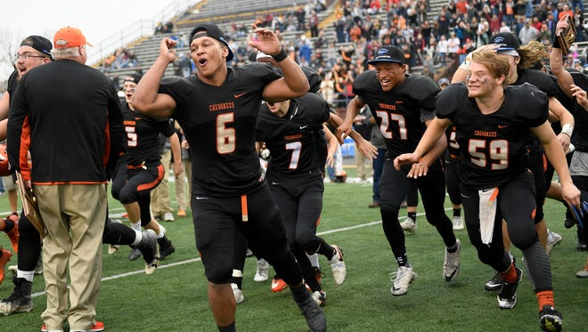 Greenback players celebrate their 42-21 win over Cornersville in the Class 1A state championship game at Tucker Stadium in Cookeville, Tenn., Thursday, Nov. 30, 2017.