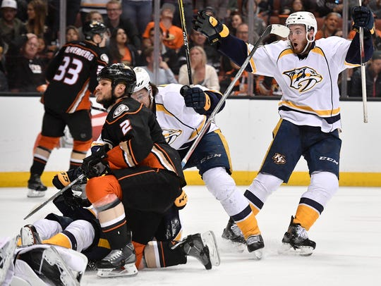 Nashville Predators center Colton Sissons (10) celebrates