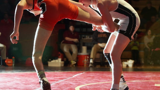 NJSIAA  District 18 wrestling tournament finals held at Hillsborough High School  on Saturday February 20, 2016.