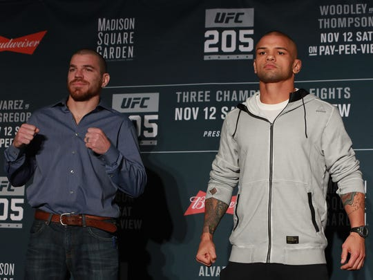 Jim Miller (left) poses with his opponent on Saturday, Thiago Alves, during the UFC 205 Media Day at The Theater at Madison Square Garden on Wednesday.
