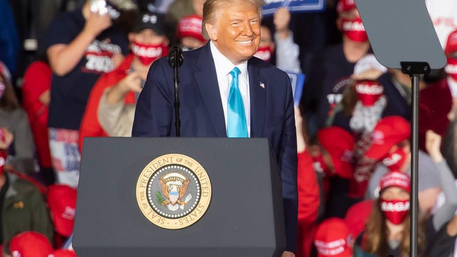 President Donald Trump arrives at a campaign rally at Avflight Harrisburg at the Harrisburg International Airport on Saturday, September 26, 2020, in Middletown, Pa.