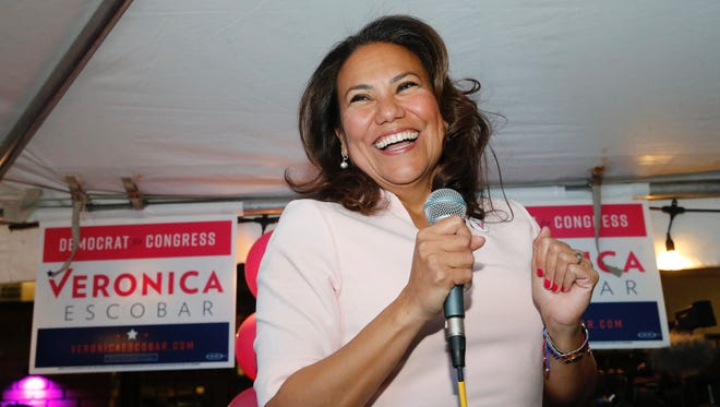 Former County Judge Veronica Escobar celebrates her Democratic Primary victory in her bid for the 16th Congressional District.