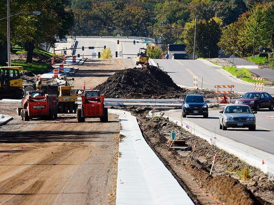 Construction continues Wednesday, Oct. 5, on widening