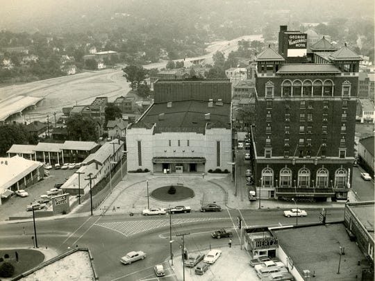 The Asheville Auditorium, completed in 1940, was incorporated into what became the Asheville Civic Center as the Thomas Wolfe Auditorium. This photo is from the late 1960s.