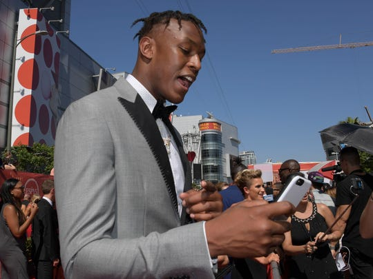 Indiana Pacers player Myles Turner arrives on the red carpet for the 2016 ESPY Awards at Microsoft Theater.