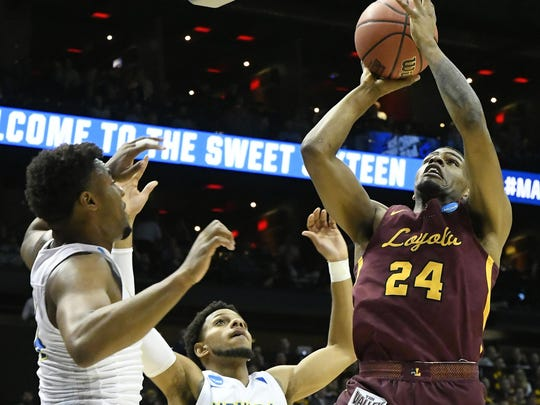 Loyola-Chicago forward Aundre Jackson (24) was the
