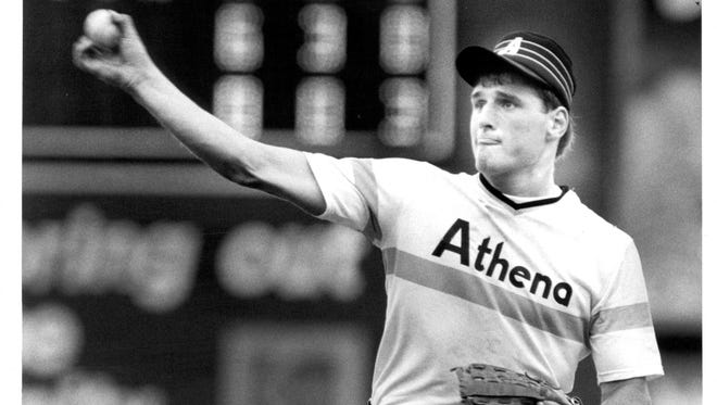 Dave Allen during his high school pitching days at Greece Athena.
