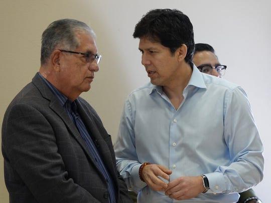 State Senate leader Kevin de León, right, talks with Ventura County Supervisor John Zaragoza during a campaign stop Saturday in Oxnard. Zaragoza announced at the event that he is endorsing de León's run for U.S. Senate.