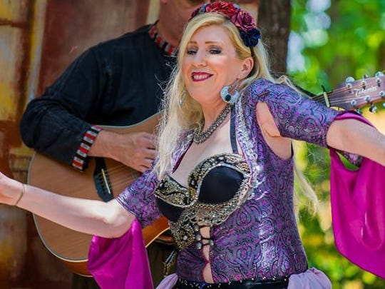 "Entertainment at the 2016 Tennessee Medieval Faire included belly dancing. Here, ""Shazia"" with Albi Belly Dance of Knoxville dances."