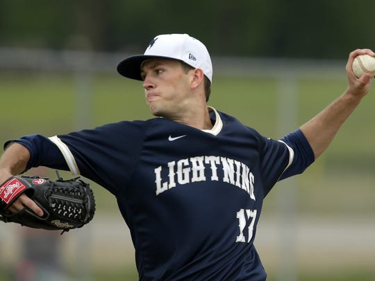 Connor Wollersheim pitches for Appleton North during