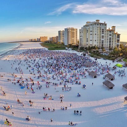 A drone capture the Easter sunrise service on Marco