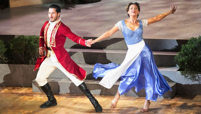 """Valentin Chmerkovskiy, left, and Ginger Zee compete on """"Dancing with the Stars."""""""
