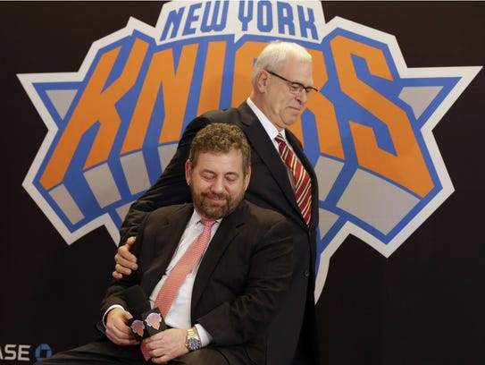 Phil Jackson, right,  and James Dolan had just exercised