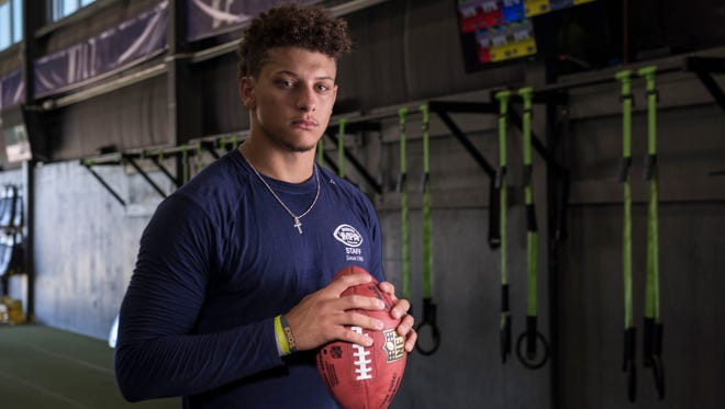 Patrick Mahomes, quarterback from the Texas Tech Red Raiders, poses for a photo at the APEC training facility in Tyler, TX. Mahomes could be one of the top quarterback prospects going into the NFL draft.