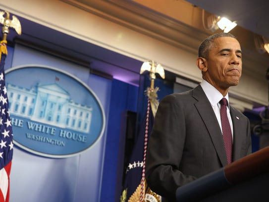 President Obama speaks in the Brady Press Briefing