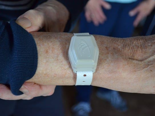 Donald Giles wears this Project Lifesaver transmitter,
