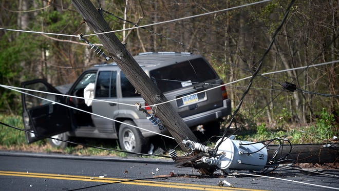 This vehicle hit a utility pole about 7:30 a.m. Thursday in the 1400 block of Mt. Wilson Road in South Londonderry Township. The crash cut power to about 20 Met-Ed customers. Power has been restored to the customers.